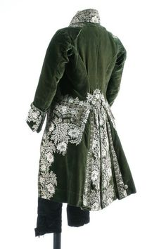 A gentleman's embroidered green velvet court coat and matching ivory satin waistcoat, French, circa heavily embellished with floss silk flowerheads and foliage; together with a pair of later black satin breeches 18th Century Clothing, 18th Century Fashion, Historical Costume, Historical Clothing, Vintage Outfits, Vintage Fashion, 18th Century Costume, Gentleman, La Mode Masculine
