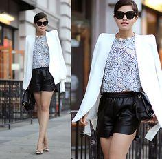 Chloé High Shoulder Blazer, Céline Audrey Sunglasses, Balenciaga Top, Sheinside Faux Leather Shorts, Isaac Mizrahi Bow Pumps