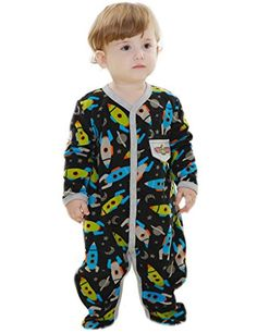 Comhoney Baby Boys 1Piece Long Sleeve Footed Sleeper Pajamas Rocket -- Check this awesome product by going to the link at the image.