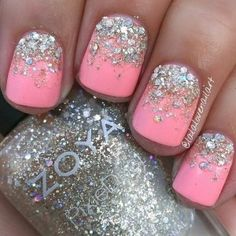 48 Neon Pink Nails + Silver Glitter