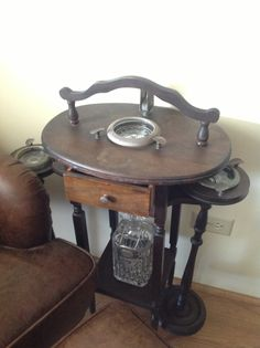 Antique smoking table/cigar stand for Cigar Bar Area at Reception! Found one at St Jacobs Antiques Market $125 Buy Fast! Cigar Smoking, Smoking Pipes, Cigar Art, Cigar Accessories, Cigar Room, Vintage Ashtray, Pipes And Cigars, Antique Market, Bar Areas