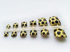 24 Gold Polka Dot False Toe Nails, Hand Painted Fake Toenails, Artificial Nail Set from NailArtisan on Etsy. Saved to Nails. Fake Toenails, Nail Set, Gold Polka Dots, Artificial Nails, Toe Nails, Claws, Stud Earrings, Hand Painted, Etsy