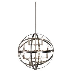 Robert Abbey Lucy 8 Light Pendant In Antique Nickel - Robert-abbey-d2164 | Candelabra, Inc.  *Top choice with the glass drop chandelier*