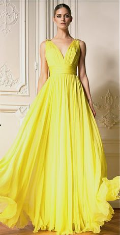 Bright Yellow Chiffon Evening Dress   Sleeveless Ball Gown with slight Empire Waist   ----- Custom designs and affordable replicas can be obtained via www.dariuscordell.com