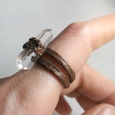 Copper Ring- Double Terminated Quartz Crystal- Size 6