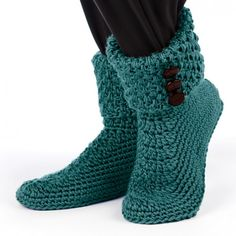 Free Crochet Patterns Booties For Adults : Buttoned Cuffed Boots Free crochet slipper patterns ...