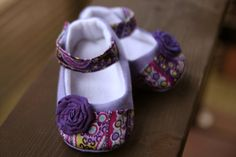 Baby girl shoes purple linen by TwilightTreasure on Etsy, $18.95