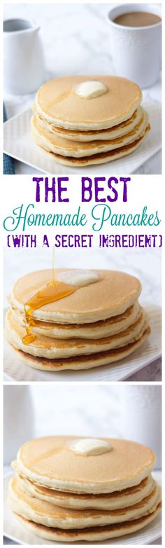 Homemade pancakes - Homemade Pancake Mix with a secret ingredient. This homemade pancake mix will be the last recipe yo - Breakfast Dishes, Breakfast Recipes, Dessert Recipes, Pancake Recipes, Breakfast Bake, Breakfast Ideas, Best Homemade Pancakes, Love Food, The Best