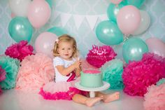 www.waterhousestudios.com, NC photographer, children's photography, children's studio photography, birthday session, cake smash session, teal, hot pink, and light pink themed, second birthday session