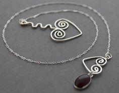 Garnet Lariat necklace  Valentines day gift   Spiral by tladesigns, $56.00