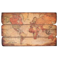 Antiqued wood Old World wall map.    Product: Wall art    Construction Material: Wood         Dimensions: ...