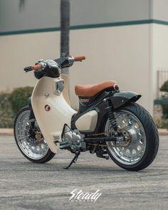 2019 HondaSuper-Cub - Custom Wheels & More! Honda Scooters, Honda Bikes, Honda Cub, Scooter Custom, Custom Bikes, Custom Wheels, Scooter Bike, Motorcycle Bike, Moto Jawa