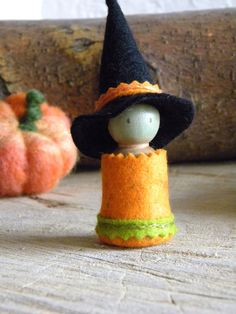 Witch Halloween Doll Orange Green black Small by MamaWestWind