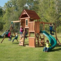 Wood Playset Swing Set Children's Garden Playhouse Slide Climbing Outdoor Set