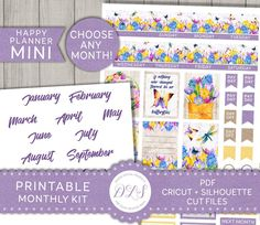 Are you ready for spring? 🌼 Decorate your Mini Happy Planner monthly spreads with this cute floral printable planner stickers kit from Design Lovely Studio! Summer Planner, Mini Happy Planner, Free Planner, Monthly Planner, Floral Printables, Printable Planner Stickers, Erin Condren Life Planner, Sticker Shop, Spreads