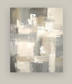 Arte Abstracto Acrilico grises beige y blanco
