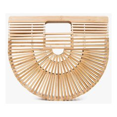 Cult Gaia Small Ark Bag ($128) ❤ liked on Polyvore featuring bags, handbags, bamboo handbags, beige bag, beige handbags, bamboo bag and bamboo purse