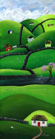 Hilly Highlands 12x30 Giclée Archival Print by BriannasArtwork. Hilly highlands with plenty of uphill walking. A workout well worth the lands engaging beauty. An Irish trip of a life time with me and my hubby. With lots of gazing at every shade of green and sheep so cute and, oh so chubby. The sky, often blanketed with clouds, creates a ricochet of dancing light that bounce off hills all around. Sheep literally blanket the grass in all the fields up high or down low.