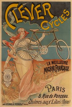 FRENCH SCHOOL (Late 19th century). Clever Cycles. Color poster.