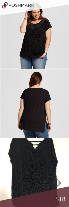 Ava Viv  plus size Burnout Top Front is 70% polyester/28% nylon/2% spandex. Back body 95% rayon, /5% spandex . Front is 28 inches and back is 30 inches . Front has soft lace over lay . Back is a solid black . Ava & Viv Tops Tunics