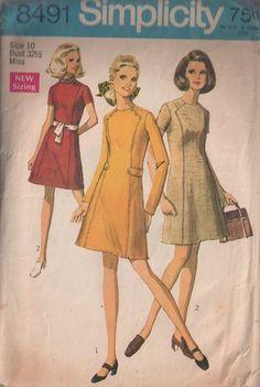 MOMSPatterns Vintage Sewing Patterns - Simplicity 8491 Vintage 60's Sewing Pattern DANDY Mod Shaped Front Panel, Button On Martingale Belt Day Dress, 2 Styles