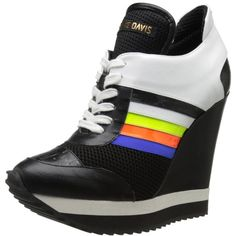 Ruthie Davis Women's Course Fashion Sneaker ($855) ❤ liked on Polyvore featuring shoes, sneakers, ruthie davis, wedge trainers, wedge heel sneakers, wedges shoes and wedge sneakers