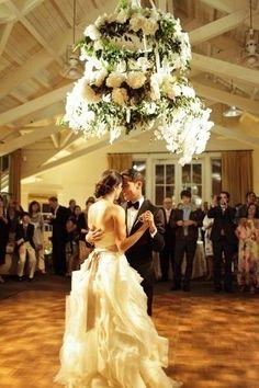 floral chandelier #wedding