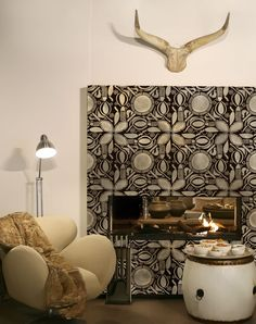 Tribal Wall Stencil Pattern on a fireplace | African Circle of Life | http://www.royaldesignstudio.com/