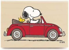 *Peanuts Snoopy Rubber Stamp Driving with his buddy Woodstock in a VW Beetle -