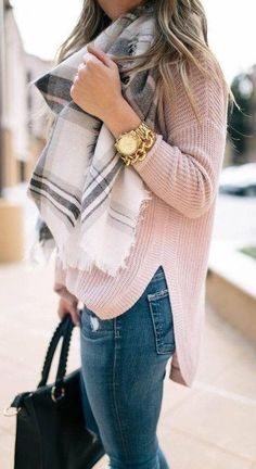 #winter #outfits white, black and gray scarf #casualwinteroutfit