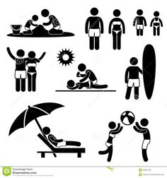Family Summer Beach Holiday Vacation Pictogram Stock Photos - Image: 25897793