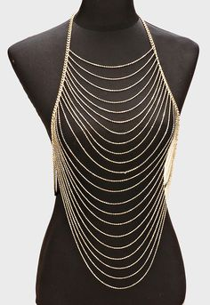 Gorgeous delicate boho multi layered gold body chain with decor. Cute for festivals this summer!