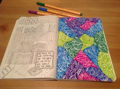 Wreck This Journal || I used the left hand page to practice entangle patterns and then got to work on the right hand page. Loved using such bright colours and using every part of the page!