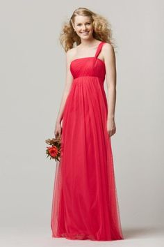 Size 8 Rosa Wtoo 654 One Shoulder Long Bridesmaid Dress- One shoulder long Bobbinet bridesmaid dress has pleated empire bodice and floor length A-line skirt.