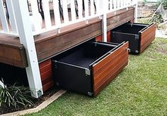 An economical and clever storage solution which transforms the unused space under your patio into a sturdy and functional drawer. Easily harmonized: cover its exterior with the same covering as your deck and it blends into your decor. Supports a spread ou Back Patio, Backyard Patio, Small Patio, Patio Decks, Under Deck Storage, Porch Storage, Storage Drawers, Pool Toy Storage, Outdoor Toy Storage