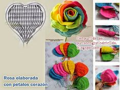 "Pattern and step by step of ""rose"" flower with crochet."