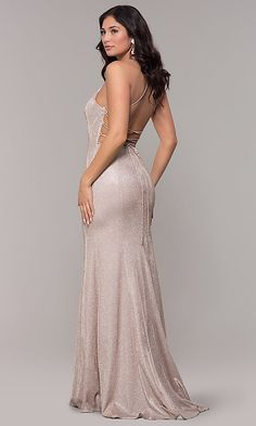 Shop open-back long iridescent-knit prom dresses at PromGirl. Sparkly metallic prom dresses, long tight prom dresses with corsets, and open-back prom dresses with princess cuts. Long Tight Prom Dresses, Fitted Prom Dresses, Plus Size Prom Dresses, Homecoming Dresses, Nice Dresses, Metallic Prom Dresses, Matric Farewell Dresses, Prom Girl, Hot Dress