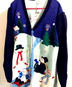 Womens Ugly Christmas Sweater 2X Snowmen