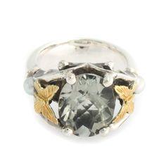Ann King Sterling Silver & 18K Gold Paradise 3.40ct Green Quartz Ring 6 K917 #AnnKing #Solitaire #qvcx