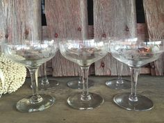 503271d78f22 6 vintage etched tall champagne glasses by 1350Northvintage Vintage  Champagne Glasses
