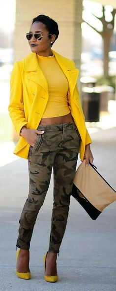 Discover this look wearing Mustard Old Navy Coats - Camo + Mustard by thedaileigh styled for Chic, Everyday in the Winter Camo Fashion, Fashion Mode, I Love Fashion, Winter Fashion, Fashion Outfits, Womens Fashion, Fashion Trends, Fashion Finder, Yellow Fashion