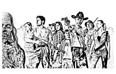 Free coloring page coloring-adult-the-walking-dead. coloring-adult-the-walking-dead