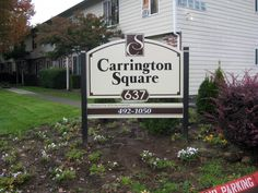 Carrington Square Apartments Post and Panel Monument Sign Monument Signs, Outdoor Signage, Portland, Apartments, Commercial, Money, Stylish, Gallery, Simple