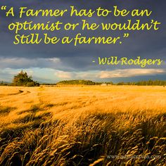 .So true so true. Each we watch a crop wither from no rain or drown from to much rain. But we have good years, where the corn is tall green & has big ears with a possible smaller one lower on the stalk.  That is why a farmer farms, takes risks & truly loves the land & the life it gives him.