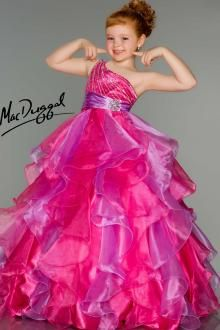 Little Girls Pageant Dress in Mint and Pink - Mac Duggal
