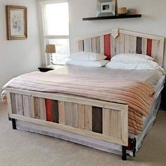 If you want to opt for a design which is different from the common pallet wood bed designs then this will be the best. Pallet wood has been used in the head and foot board of this bed. A bit of Graphite Grey and Red colour has been added for beauty.