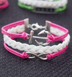 Anchor & Infinity Bracelet Charm Silver Pink Wax Cords Imitation Leather Braided Bracelet-Best Gift Personalized Women Friendship Jewelry