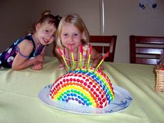 using smarties for a rainbow cake - and many other rainbow party ideas