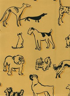Best in Show Wallpaper Wallpaper with black dogs with gold shadow print on tan