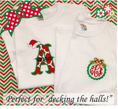 Deck the halls with Holiday monograms & appliques from www.girlygearshop.com